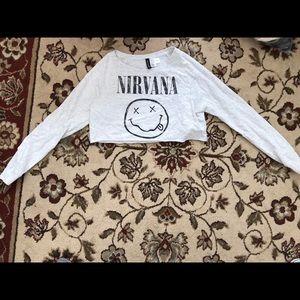 H&M nirvana long sleeved crop top